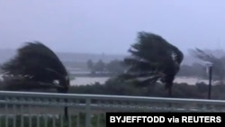 Trees are buffeted by strong winds as Hurricane Isaias hits the Bahamas on July 31, 2020 in this still image taken from social media video, filmed from the Grand Isle Resort and Spa at Emerald Bay, Great Exuma.