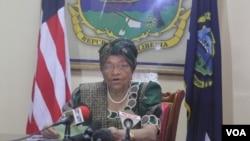 FILE - President Sirleaf of Liberia.