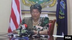 FILE - President Sirleaf of Liberia