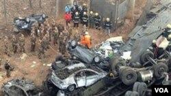 Hiện trường tai nạn ở miền trung Trung Quốc.