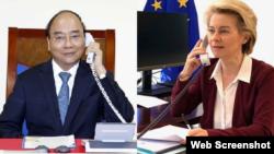 Thủ tướng Việt Nam Nguyễn Xuân Phúc điện đàm với Chủ tịch EC Ursula Von Der Leyen ngày 29-07-2020. Photo VNA và Twitter.
