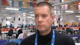 Jack Gallagher, Olympic Press Center, Olympic Village, Sochi, Russia, Feb. 16, 2014. (Parke Brewer/VOA)