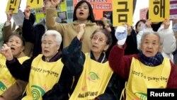 要求日本政府就慰安婦問題的抗議每個星期都在首爾 舉行