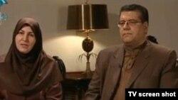 سونیا پوریامین و کاظم روحانی نژاد، دو مجری مصاحبه تلویزیونی با حسن روحانی.