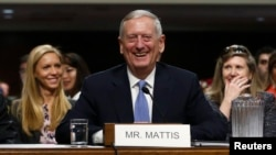 Retired Marine Corps Gen. James Mattis appears before a Senate Armed Services Committee hearing on his nomination to serve as U.S. defense secretary on Capitol Hill in Washington, Jan. 12, 2017.