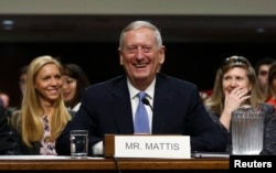 Retired Marine Corps Gen. James Mattis appears before a Senate Armed Services Committee hearing on his nomination to serve as U.S. defense secretary, on Capitol Hill in Washington, Jan. 12, 2017.
