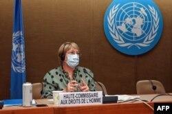 La Alta Comisionada de las Naciones Unidas para los Derechos Humanos, Michelle Bachelet, en una sesión del Consejo de Derechos Humanos, en Ginebra, el 21 de junio del 2021.