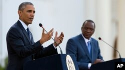 President Barack Obama speaks during a news conference with Kenyan President Uhuru Kenyatta at the State House in Nairobi, Kenya, July 25, 2015.