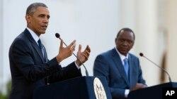 President Barack Obama speaks during a news conference with Kenyan President Uhuru Kenyatta at the State House in Nairobi, Kenya, July 25, 2015.