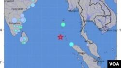 Peta lokasi terjadinya gempa berkekuatan 7,7 pada skala Richter dekat Kepulauam Nicobar.