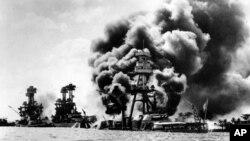 Frappes aériennes contre trois cuirassés américains lors de l'attaque japonaise contre Pearl Harbor le 7 décembre 1941