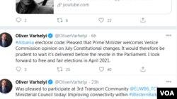 Twitter i Komisionerit Oliver Harvelyi