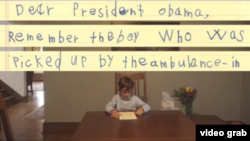 Six-year-old Alex reads his letter to President Obama (screenshot from video posted to President Obama's Facebook)