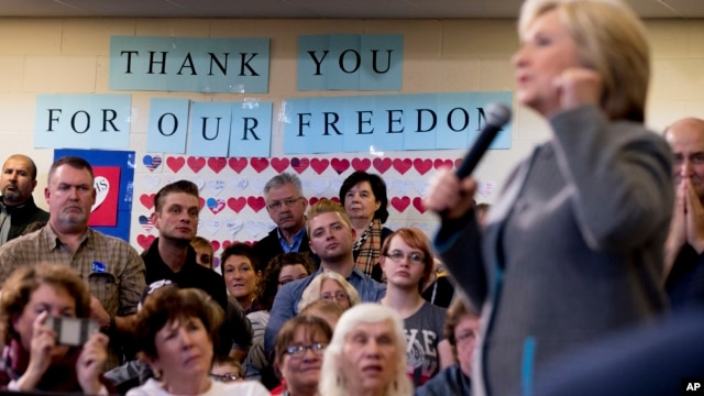 Democratic presidential candidate Hillary Clinton speaks at a rally at Abraham Lincoln High School in Council Bluffs, Iowa, Jan. 31, 2016.