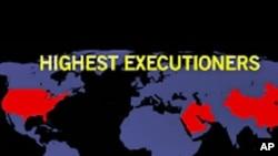 紅色地區顯示執行死刑數目較高的國家