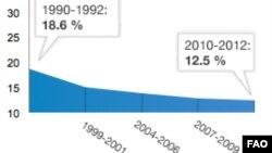 Đồ biểu về tỷ lệ người trên thế giới bị thiếu ăn từ 1990 đến 2012