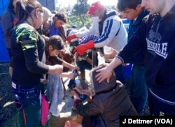 One of the few water taps at Idomeni for more than 13,000 refugees.