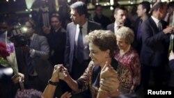 Dilma Rousseff e apoiantes, 19 de Abril, 2016.