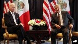Serokê Amerîka Joe Biden û serokê Meksîko Andres Manuel Lopez Obrador (Arşîv)