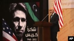 Tổng thống Libya Mohammed el-Megarif phát biểu trong buổi lễ ở Tripoli, Libya, 20/9/12, tưởng niệm Đại sứ Mỹ tại Libya Chris Stevens và 3 nhân viên bị giết ở Benghazi hôm 11/9/12