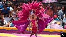 Kelompok sirkus Meksiko menggunakan anjing dalam salah satu atraksi sirkusnya di Zocalo (foto: dok).
