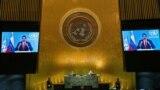 El presidente de Venezuela, Nicolás Maduro, se dirige de forma remota al 76 ° período de sesiones de la Asamblea General de la ONU mediante un video pregrabado. Nueva York, Estados Unidos. Septiembre 22, 2021.