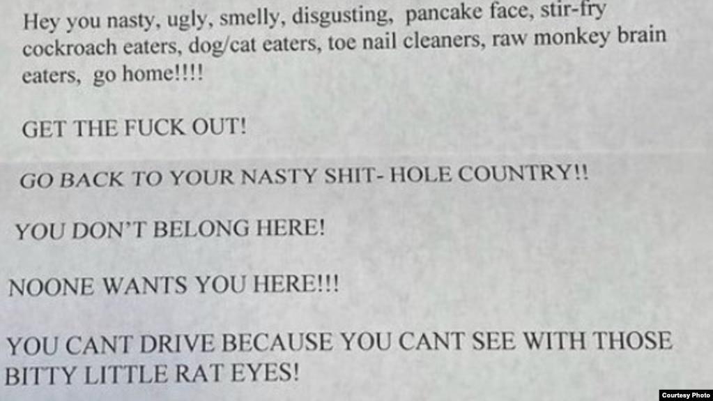 Nội dung lá thư được gửi đến tiệm nail Top 10 Nails đầy những lời lẽ thù hằn