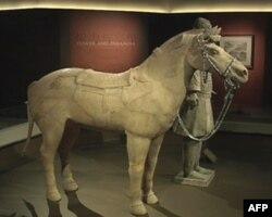 国家地理博物馆展出的兵马俑和战马