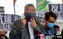 支联会主席李卓人因8-18流水式集会案及8-31祈祷游行案,被判监禁14个月。 (美国之音/汤惠芸)