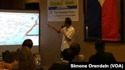 Walikota Eugenio Bito-onon mengusulkan gagasan 'Pariwisata demi Perdamaian' di kepulauan Spratly dalam presentasi di Manila hari Minggu (23/8).