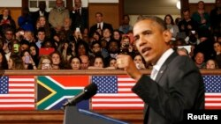 U.S. President Barack Obama referred to the upcoming Zimbabwe elections while speaking at the University of Cape Town, June 30, 2013.