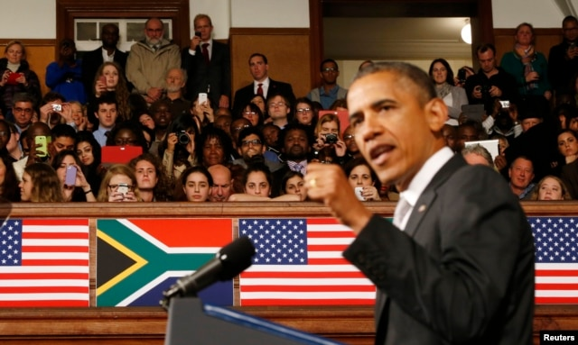 U.S. President Barack Obama speaking at the University of Cape Town, June 30, 2013.