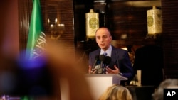 FILE - Saudi Arabia's foreign minister, Adel al-Jubeir, is seen holding a press conference in a Dec. 15, 2015, photo.
