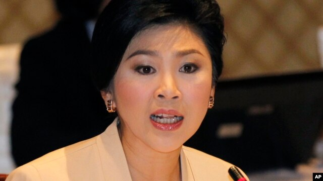 FILE- Thailand's Prime Minister Yingluck Shinawatra, Jan. 28, 2014 in Bangkok.