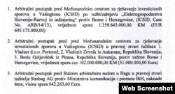 Arbitražni postupci protiv BiH (Screenshot dokumenta Pravobranilaštva BiH)
