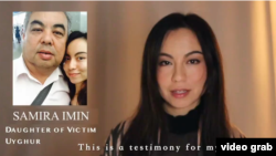 A screenshot of a video Samira Imin posted to social media after learning of her father's prison sentence in China.