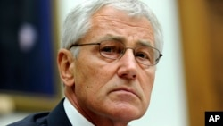FILE - U.S. Defense Secretary Chuck Hagel.
