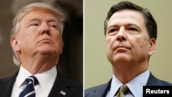 FILE - A combination photo shows U.S. President Donald Trump (left) in the House of Representatives in Washington, Feb. 28, 2017 and FBI Director James Comey in Washington on July 7, 2016.