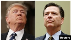 FILE PHOTO: A combination photo shows U.S. President Donald Trump (L) in the House of Representatives in Washington, U.S., on February 28, 2017 and FBI Director James Comey in Washington on July 7, 2016.