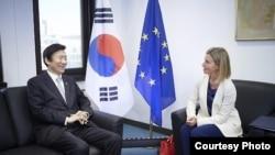 윤병세(왼쪽) 한국 외교장관과 페데리카 모게리니 유럽연합(EU) 외교안보 고위대표가 5일 벨기에 브뤼셀에서 만나 북핵 문제 등 공동관심사에 대해 의견을 나누고 있다. (한국 외교부 제공)