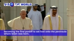 VOA60 World PM - United Arab Emirates: Pope Francis meets with UAE leaders in Abu Dhabi