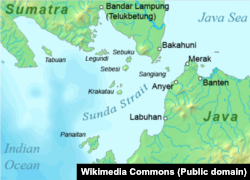 Indonesia's Sunda Strait, between the islands of Java and Sumatra.