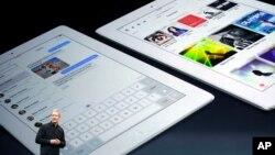 CEO Apple Tim Cook memperkenalkan produk baru iPad Air di San Francisco, 22 Oktober 2013. (AP/Marcio Jose Sanchez)