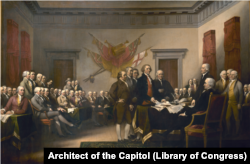 Declaration of Independence painting by John Trumbull in 1818. The famous work hangs in the US Capitol Building in Washington, D.C.