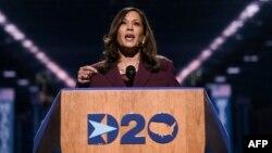 La sénatrice californienne et candidate démocrate à la vice-présidence, Kamala Harris, s'exprime lors du troisième jour de la Convention nationale démocrate, à Wilmington, Delaware, le 19 août 2020. (Photo AFP)