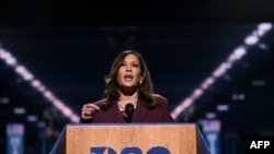 Senator from California and Democratic vice presidential nominee Kamala Harris speaks during the third day of the Democratic National Convention, being held virtually amid the novel coronavirus pandemic, at the Chase Center in Wilmington, Delaware…