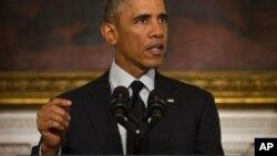اوباما پس از رای سنا در کاخ سفید ظاهر شد. پنجشنبه ۱۸ سپتامبر ۲۰۱۴، واشنگتن.