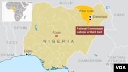 Ikarata yerekana aho ishule yisumbuye ya Reta ya Buni Yadi iri, muri Nigeria