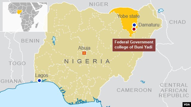 Location of Federal Government College Buni Yadi, in Yobe state, Nigeria.