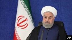 Presiden Iran, Hassan Rouhani di Teheran, 3 JUli 2021. (Iranian Presidency Office via AP)
